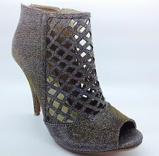 Large Size Ladies Caged Shimmer Silver/Gold Shoe boots size UK 10 PLUS SIZE