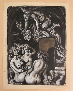 1918 Antique WALTER C SCHMIDT Surreal Painting Devil, Christian Monk, Nude Women