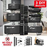 New 8 Tiers Pot Organizer Rack Cabinet Storage Lid Pan Holder Kitchen Countertop