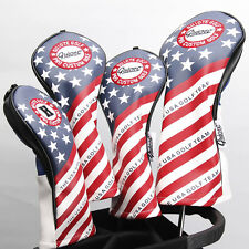 NEW STARS AND STRIPES PREMIUM PU LEATHER HEAD COVER SET 4 COVERS D,3,5 & HYBRID