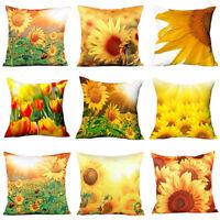 Eg _3D Gelbe Sonnenblume Polyester Überwurf Kissenbezug Heim Dekor Ösen