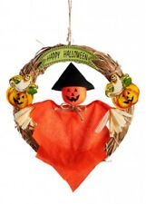 Halloween Garland with Scarecrow 20cm Straw Traditional Decoration Prop Wreath