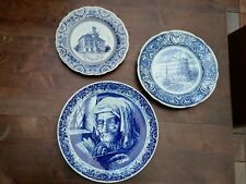 3 PORCELAIN DUTCH DELFT BLUE WHITE WALL PLATES CHARGERS