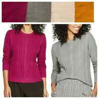 Women's Fine Gauge Cable Crewneck Pullover Sweater ~ A New Day 546026