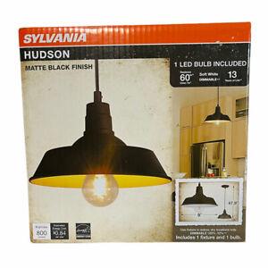 SYLVANIA Hudson Vintage Pendant Light • Matte Black • 1 Dimmable LED A19 Light