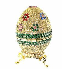 Faberge Egg Gold Jewelry Trinket Box 166GDFL Crystal Bejewel Enamel Collectible