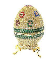 Faberge Egg  Gold Jewelry Trinket Box Crystal Bejewel Enamel  Hinge Collectible