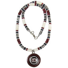South Carolina Gamecocks NCAA Shell & Bead Necklace with Logo Pendant