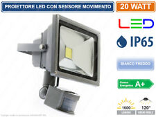 FARO FARETTO A  LED 20 WATT CON SENSORE  MOVIMENTO ALTA LUMINOSITA IP65 ESTERNO