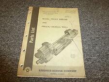 Gardner Denver PR123 Drifter & PR123J Derrick Drill  Parts Catalog Manual Book