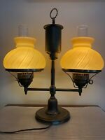 "Vintage Double Arm Brass Student Table Lamp w/Yellow Swirl Pattern Shades, 21"" T"
