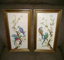 Pair of vintage framed needlepoint bluebirds