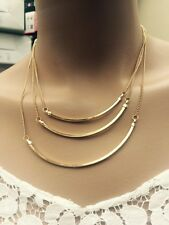 Multi Layer Necklace Gold 3 Layer Chain Pendant Necklace BNWT By Topshop