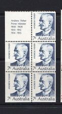 AUSTRALIA 1972-PRIME MINISTERS  SERIES 2 -PANE 5 STAMPS AND LABEL  MUH
