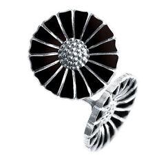Georg Jensen Silver earrings w/ Black Enamel 11 mm. - Daisy