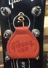 Brown Leather Gibson Guitar Pick/Plectrum Holder Keyring