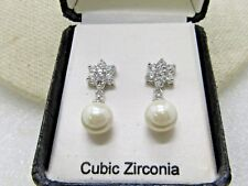 "Vintage CZ and Faux Pearl Earrings, Pierced in Box, 3/4"", Silver Tone"