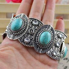 Chic Boho Womens Retro Vintage Natural Turquoise Tibetan Silver Bracelet Cuff HU
