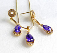 New Women 14K Yellow Gold Plated Violet Simulated Diamond Earring Necklace Set