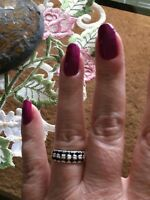 Size 5-1.12ct Thai Black Spinel Sterling Silver 2 Row Cluster Ring