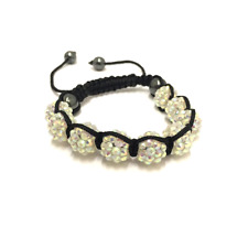 White Shamballa Adjustable Bracelet 10 mm 9 Disco Balls Beads Crystal Bangle
