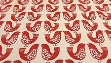 Scandi aves Scarlet Rojo Cortina Artesanía Tapicería Diseñador Tela De Algodón