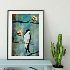 More details for colourful bird landscape painting print. swallow birds cherry blossom flowers