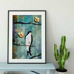 Colourful Bird Landscape Painting Print. Swallow Birds Cherry Blossom Flowers