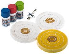 Polierset 7-tlg. Polierscheiben 100 mm Polierpaste polieren Edelstahl Felgen BGS