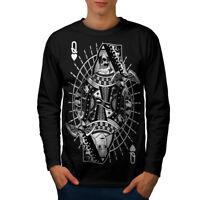 Wellcoda Poker Queen Skull Mens Long Sleeve T-shirt,  Graphic Design