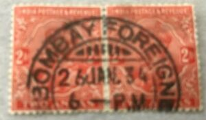 """INDIA GEORGE V 1932-36 2A SG 236 PAIR USED WITH """"BOMBAY FOREIGN"""" POSTMARK"""