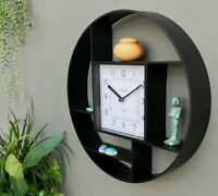 Black Wall Hanging Shelf Unit With Clock Asymmetrical 4 Shelves