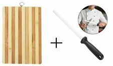 Bamboo Wooden Chopping Board + Knife Sharpener Reversible Cutting With Handle