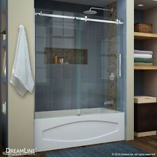 "DREAMLINE ENIGMA AIR 56""-60"" X 62"" SLIDING TUB DOOR, 3/8"" CLEAR GLASS/BRUSHED"