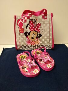 Disney Girls Minnie Mouse Flip Flops Size 7-8 and Mini Tote Bag Hot Pink
