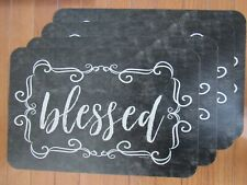 "Placemats Set of 4 Plastic Table Settings "" Blessed "" Farmhouse Rustic- New!!"