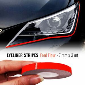 Stripes Strisce Adesive Eyeliner per Fari Auto Rosso Fluo 7 mm x 3 mt