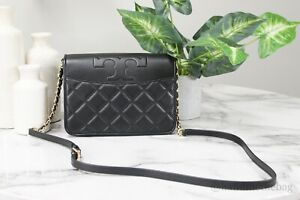 Tory Burch 73125 Savannah Small Black Quilted Leather Combo Flap Crossbody Bag
