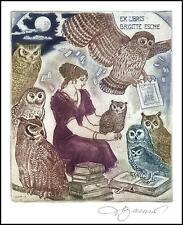 David Bekker 2009 Exlibris C4 Owl Eule Hibou Gufo Bird Sowa Vogel Woman 915