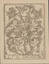 C.F. von Steiger   bookplate   Swiss family,   Alpine Ibex   foliage     QT1597