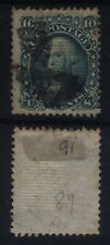 USA 1867; 10c Green, Grill size 11 x 13, Fine used SG91, Cat £375-