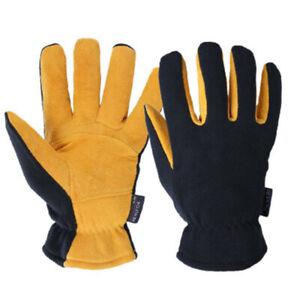 Outdoor Warmer Winter Work Gloves Leather Fleece Sonw Thick Warm For Men Women