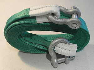 NEW HEAVY DUTY TOW ROPE 4X4 STRAP 4M STROP 14 TON & 2x 3.25T TESTED SHACKLES 4X4