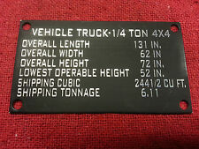 Jeep Willys MB Military Data Plate Vehicle Truck 4 x 4 Truck Deminsions New G503