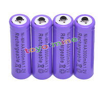 4x AA 3000mAh pile 1,2 V Ni-MH rechargeable 2A Couleur Pourpre MP3 Jouets RC