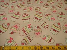 """Pink Cupcakes with Icing Pink Cotton FLANNEL Fabric 1.94 Yd L x 44"""" W"""