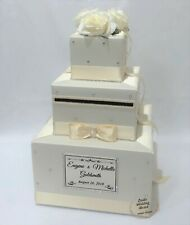 Ivory on Ivory Wedding Card Box,Card Holder, Wishing Well with Ivory Silk Roses
