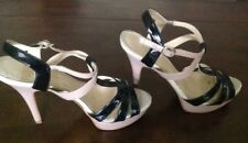 Enzo Angiolini Dusty Pink and Black Strappy Heels size 7.5M