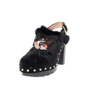 RRP €790 ALBERTA FERRETTI Velour Mule Shoes EU39 UK6 US9 High Heel Made in Italy