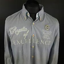 Gaastra Mens Shirt LARGE Long Sleeve Blue Regular Fit Striped Cotton